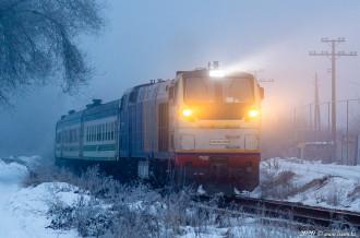 ТЭП33А-0004 с поездом УТЙ №369 Новосибирск— Ташкент, 11.01.20г