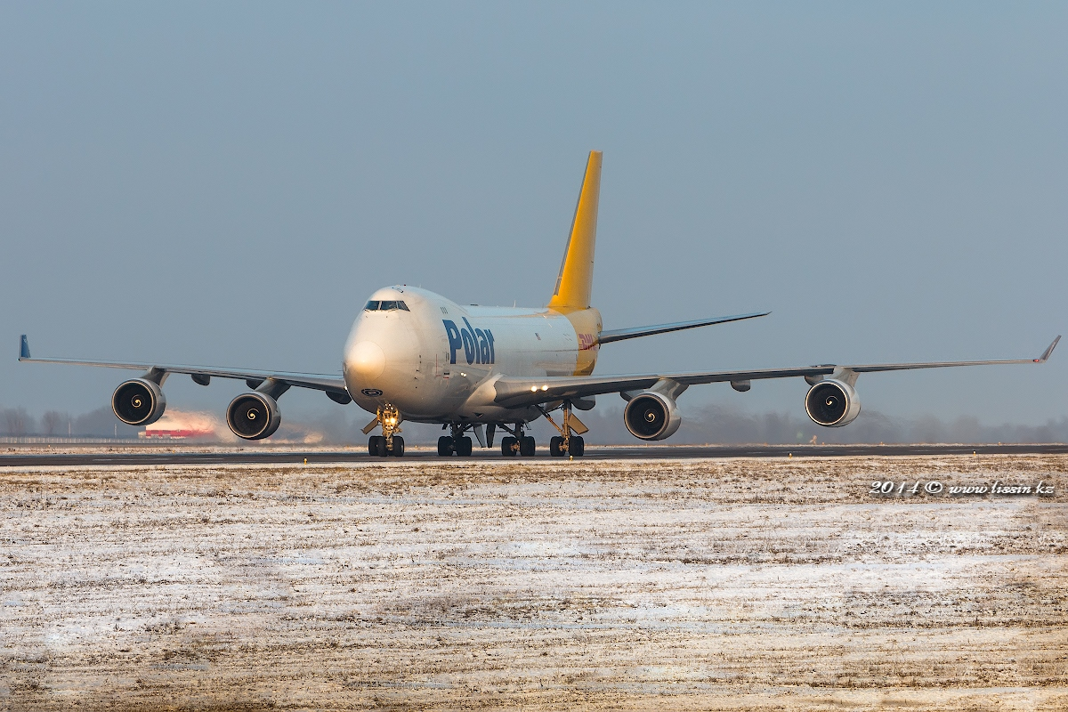 Boeing 747-400 N416MC DHL Airline in Almaty International Airport, 01.12.14.#1