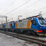 KZ4AT-0013, KZ4AT-0020,  KZ4AT-0011, ТЭП33А-0001 и KZ4AT-0009 на станции Алм-Ата-2, 06.01.17г.