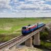 Тепловоз ТЭ33А-0210 с «рабочим» поездом, 29.04.16г
