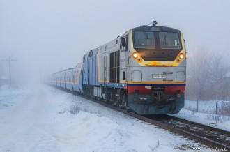 ТЭП33А-0005 с поездом Тальго Алматы— Павлодар, 11.01.20г
